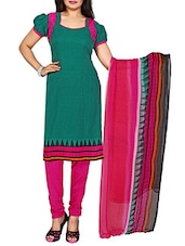 Green Crepe Unstitched Dress Material - By