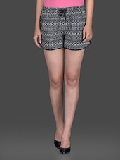 aztec printed monochrome shorts -  online shopping for Shorts
