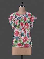 Multicolour Floral Printed Polyester Top - By