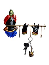 Multicolour Wrought Iron Lord Krishna Key Holder - By
