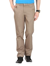 solid beige cotton casual trouser -  online shopping for Casual Trousers