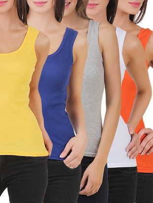 multi colored cotton tank tee set of 5 - 11707304 - Standard Image - 21