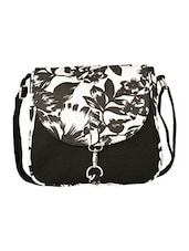black floral printed canvas sling bag -  online shopping for sling bags