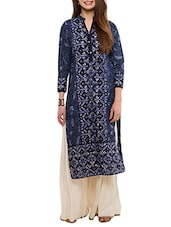Navy Blue Printed Cotton Straight Kurta - By