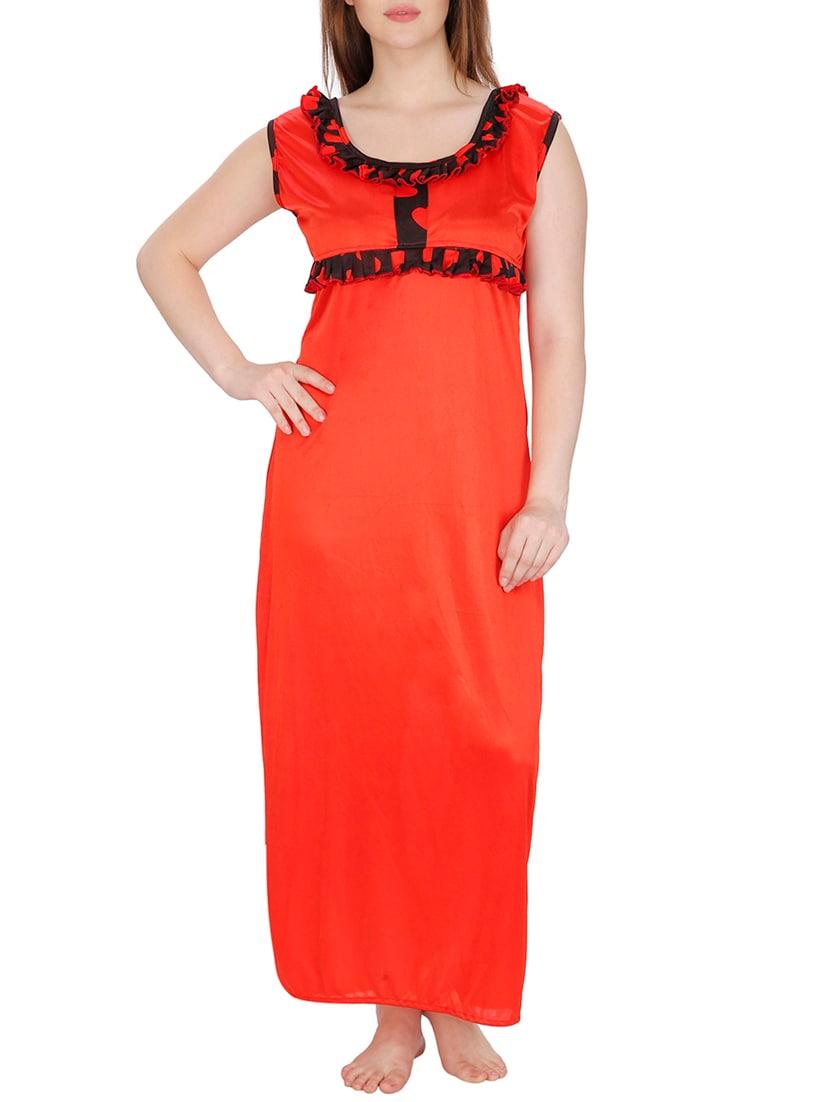 Buy Red Printed Satin Robe And Nighty Set by Secret Wish - Online ... b04852cb4