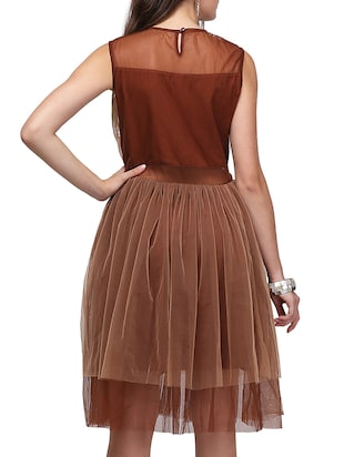 e128a369308 Buy Brown Net Fit   Flare Dress by Eavan - Online shopping for Dresses in  India