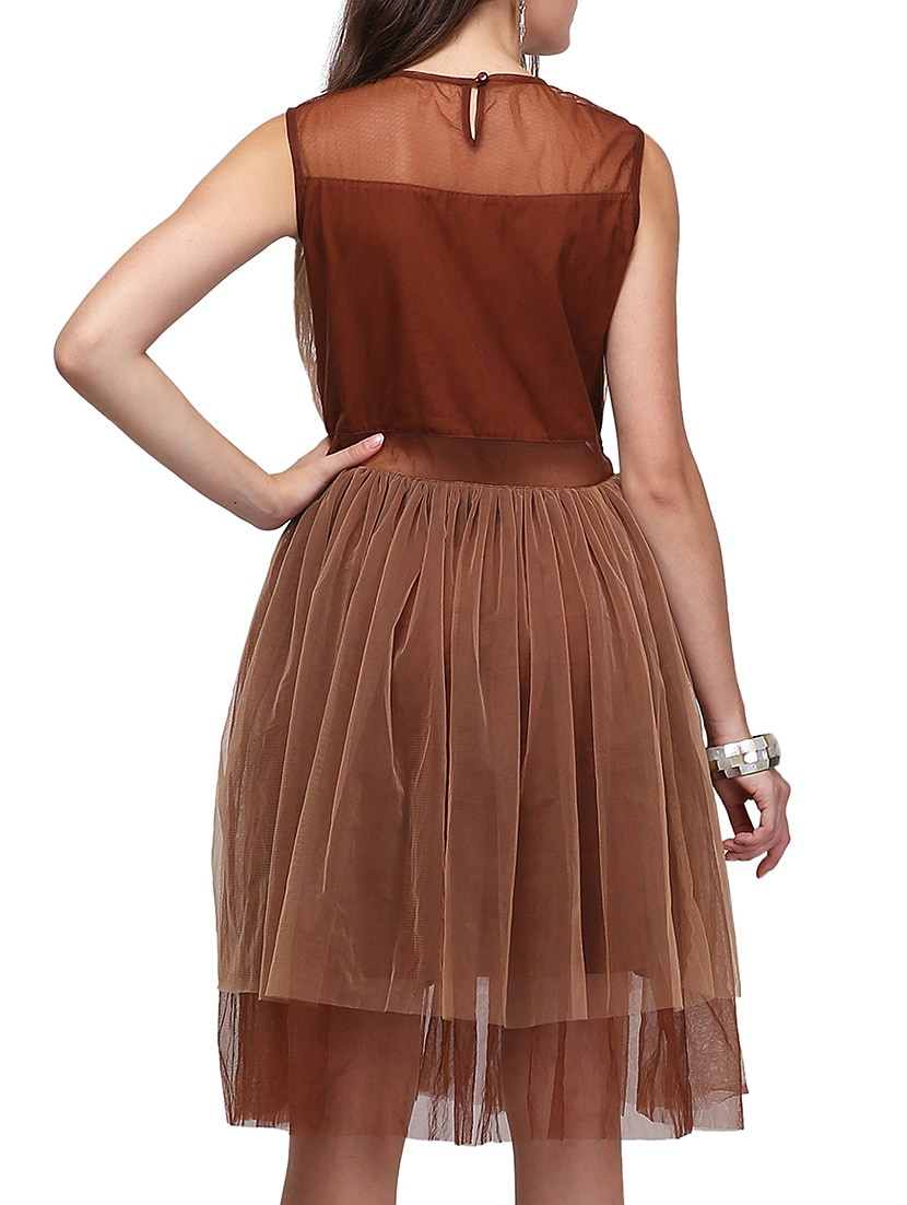 Buy Brown Net Fit Amp Flare Dress By Eavan Online Shopping