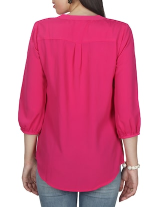 pink solid crepe tunic - 11792151 - Standard Image - 3