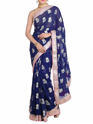 blue georgette gota patti saree with blouse - 11834410 - Standard Image - 1
