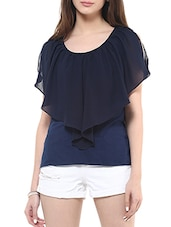 solid navy blue viscose top -  online shopping for Tops