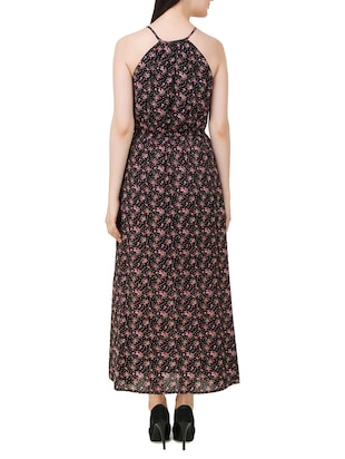 black floral printed cotton maxi dress - 11876835 - Standard Image - 3