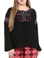 black embroidered viscose top -  online shopping for Tops