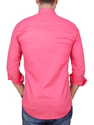 pink cotton casual shirt - 11951226 - Standard Image - 3