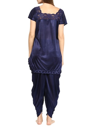 blue satin pyjama set nightwear - 11958650 - Standard Image - 3