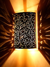 Brown Wall Light With Floral Cutwork - By