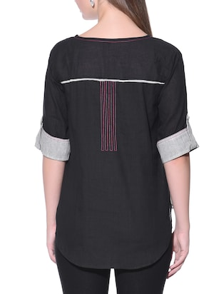 Grey and black  cotton shirt - 12080996 - Standard Image - 3