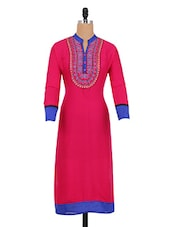 Pink Printed Full-sleeved Cotton Kurta - By