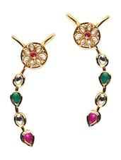 Multicolor Kundan Worked Acrylic Metallic Ear Cuffs - By