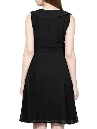 a561dc58d53a Buy Solid Black Fit And Flare Dress for Women from Indicot for ₹461 at 67%  off