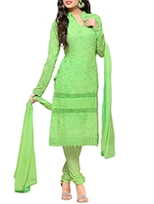 green georgette pakistani semistitched suit -  online shopping for Semi-Stitched Suits