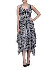 Black And White Polygeorgette Printed Asymmetrical Dress - By