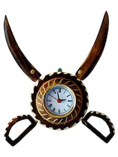 desi karigar antique wooden sword armour clock -  online shopping for Wall Clocks