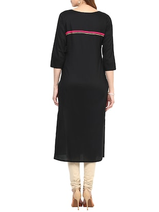 black cotton long kurta - 12184780 - Standard Image - 3