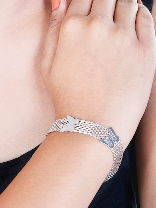 White silver plated bracelet - 12190026 - Standard Image - 3