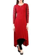 Red Crepe Highlow Kurta - By