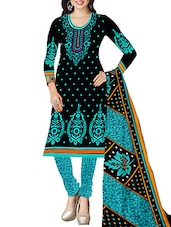 Black And Sky Blue Crepe Unstitched Dress Material - By