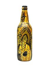 Yellow Hand Painted Ajanta Glass Decorative Bottle - By