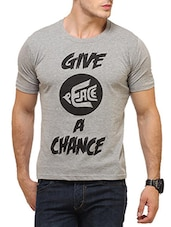 grey cotton printed t-shirt -  online shopping for T-Shirts