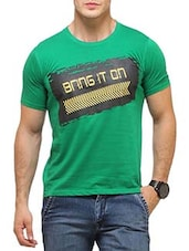 green cotton printed t-shirt -  online shopping for T-Shirts