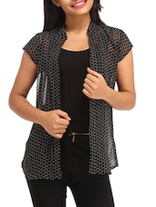 black geometric printed georgette shrug -  online shopping for Shrugs