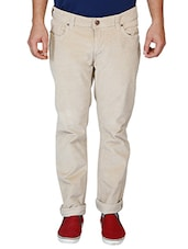 beige cotton flat front casual trouser -  online shopping for Casual Trousers