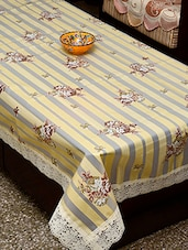 Azalea Eva 6 Seater Floral Printed Table Cover , Grey , Pack Of 1 - By