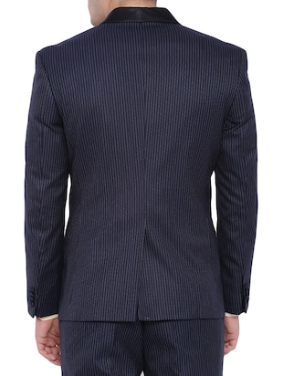 navy blue polyester formal blazer - 12268469 - Standard Image - 3