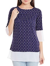 navy blue crepe regular top -  online shopping for Tops