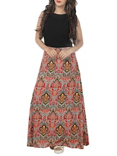 black printed crepe maxi dress -  online shopping for Dresses