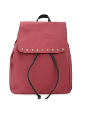 Maroon Cotton Backpack With Drawstring Closure - By