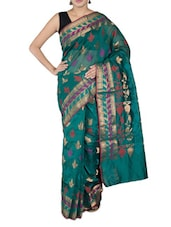Green Art Silk And Zari Saree - By