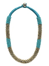 Turquoise And Gold Beaded Rope Necklace - By