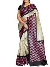 Beige Bhagalpuri Silk Printed saree -  online shopping for Sarees