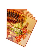 Leaf Designs Yellow Green Summer Floral Table Mats - Set Of 6 - By