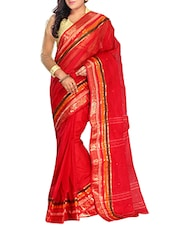 Red Cotton tant Saree -  online shopping for Sarees