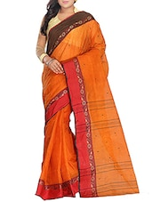 Orange Cotton tant Saree -  online shopping for Sarees