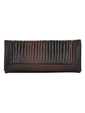 Brown Leatherette Textured Clutch - By