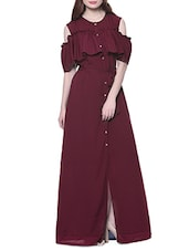 solid wine crepe maxi dress -  online shopping for Dresses