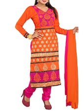 Embroidered Orange Cotton Semi-stitched Dress Material - By