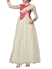 Embroidered White Net And Georgette Semi-Stitched Dress Material - By